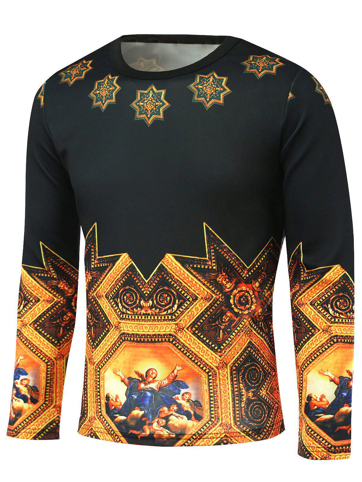 Long Sleeve Medieval Painting Pattern T-Shirt - BLACK/GOLDEN XL
