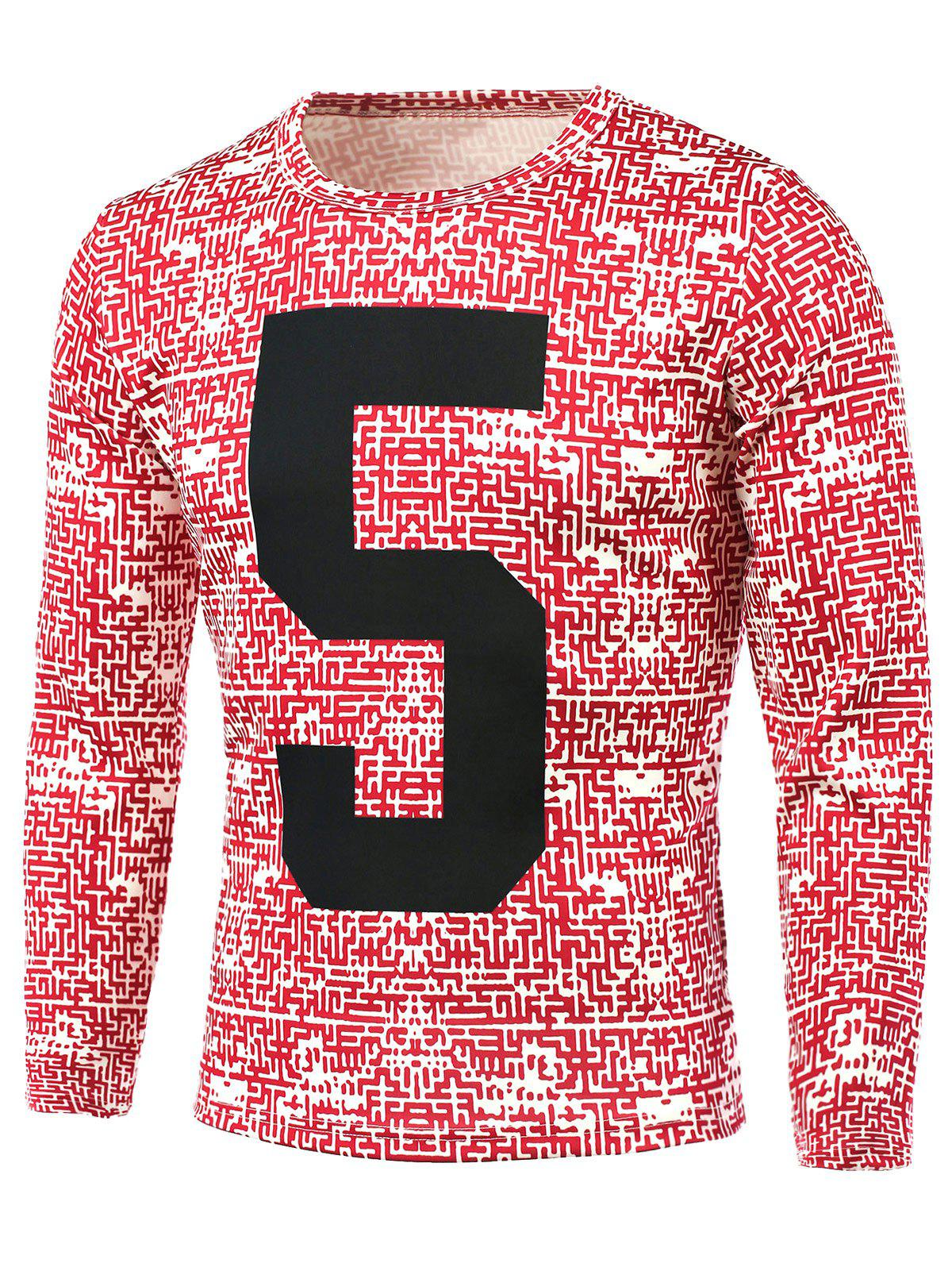 Number Pattern All Over Printed T-Shirt - RED 2XL