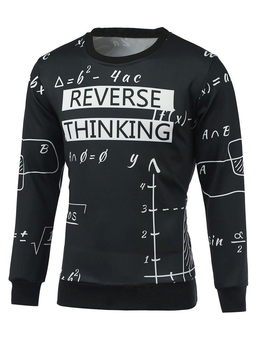 Long Sleeve Crew Neck Formula Print Sweatshirt - BLACK 2XL