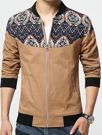 Stand Collar Zip-Up Ethnic Style Print Rib Spliced Jacket - KHAKI XL