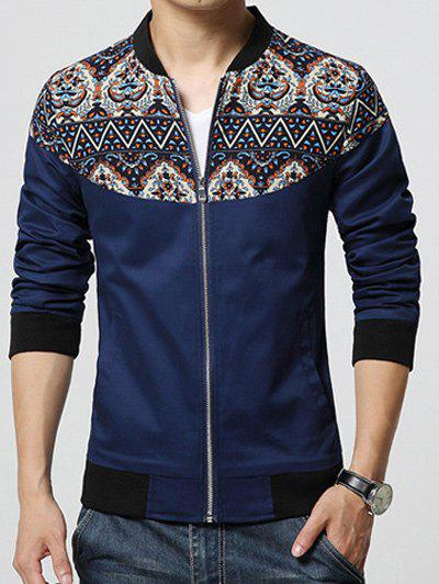 Stand Collar Zip-Up Ethnic Style Print Rib Spliced Jacket - CADETBLUE 3XL