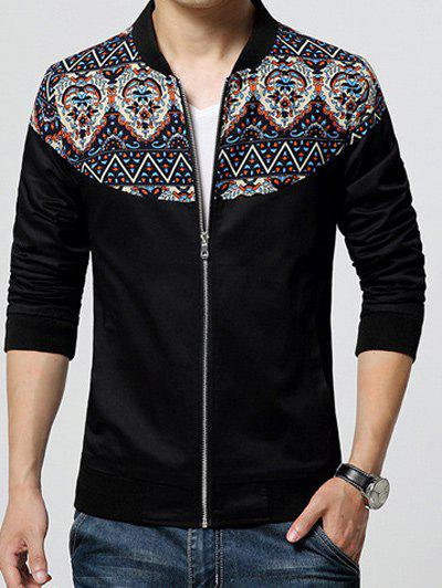 Stand Collar Zip-Up Ethnic Style Print Rib Spliced Jacket - BLACK M