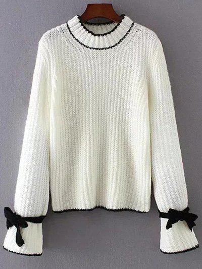 Crew Neck Long Sleeve Bowknot Sweater - WHITE ONE SIZE