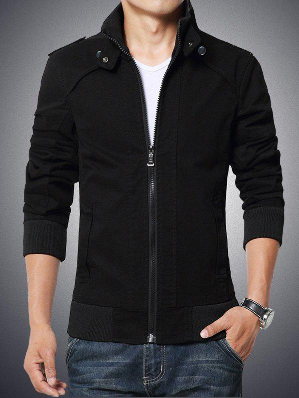 Stand Collar Zip-Up Epaulet Design Rib Spliced Jacket - BLACK L