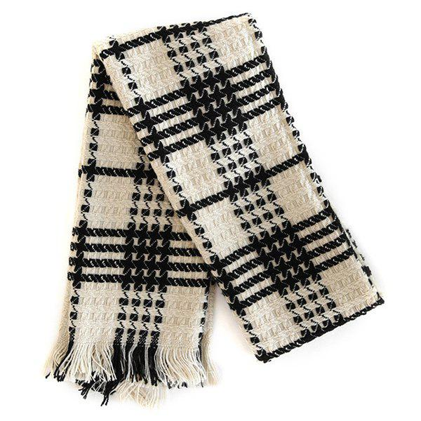 Comfortable Fringed Edge Plaid Design Thicken Scarf - WHITE