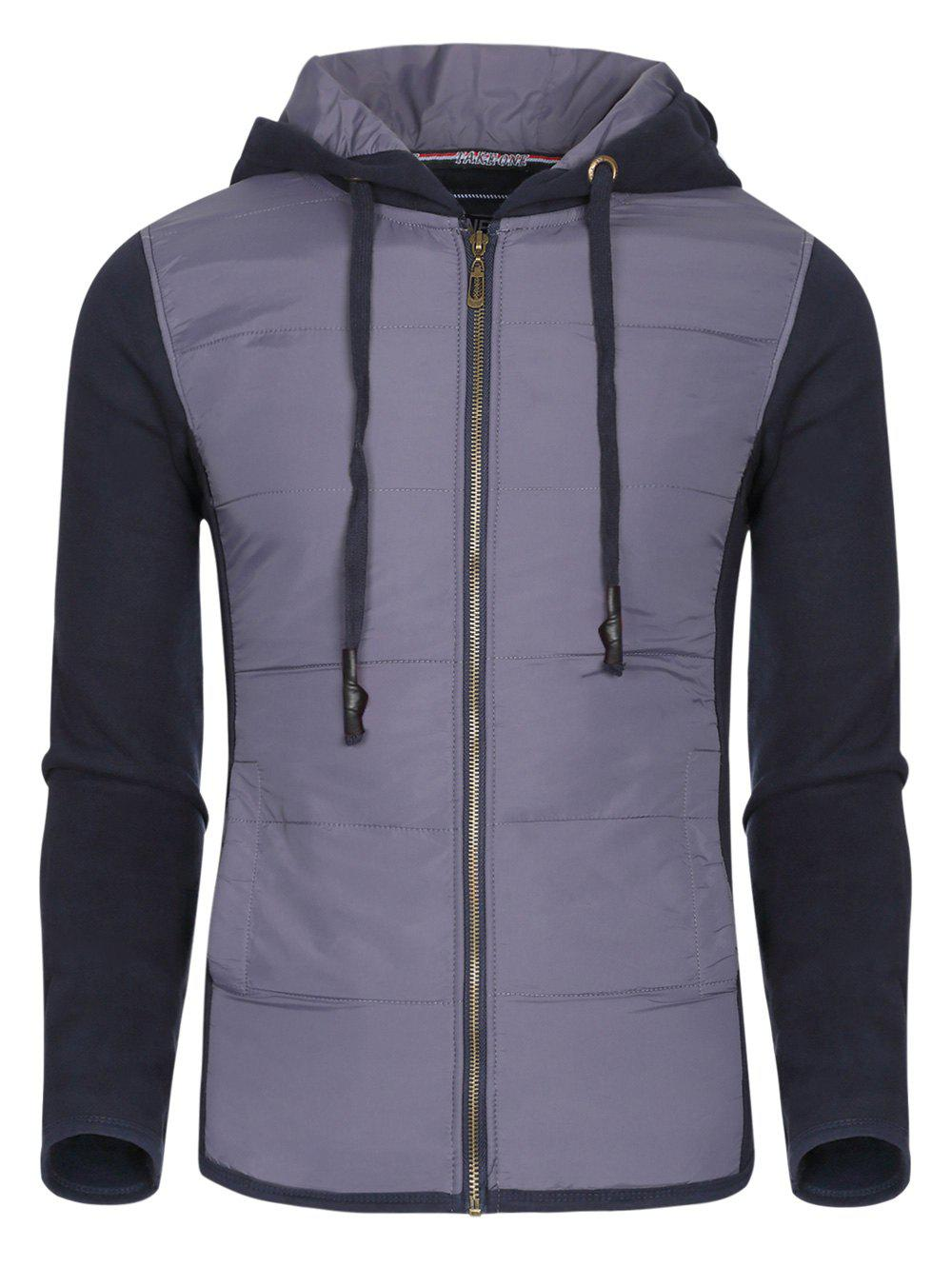 Color Block Polyester Splicing Design Hooded Thicken Men's Hoodie