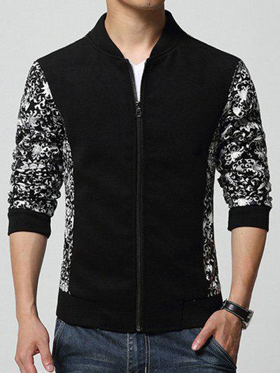 Flowers Printed Splicing Design Stand Collar Zip-Up Jacket - BLACK L