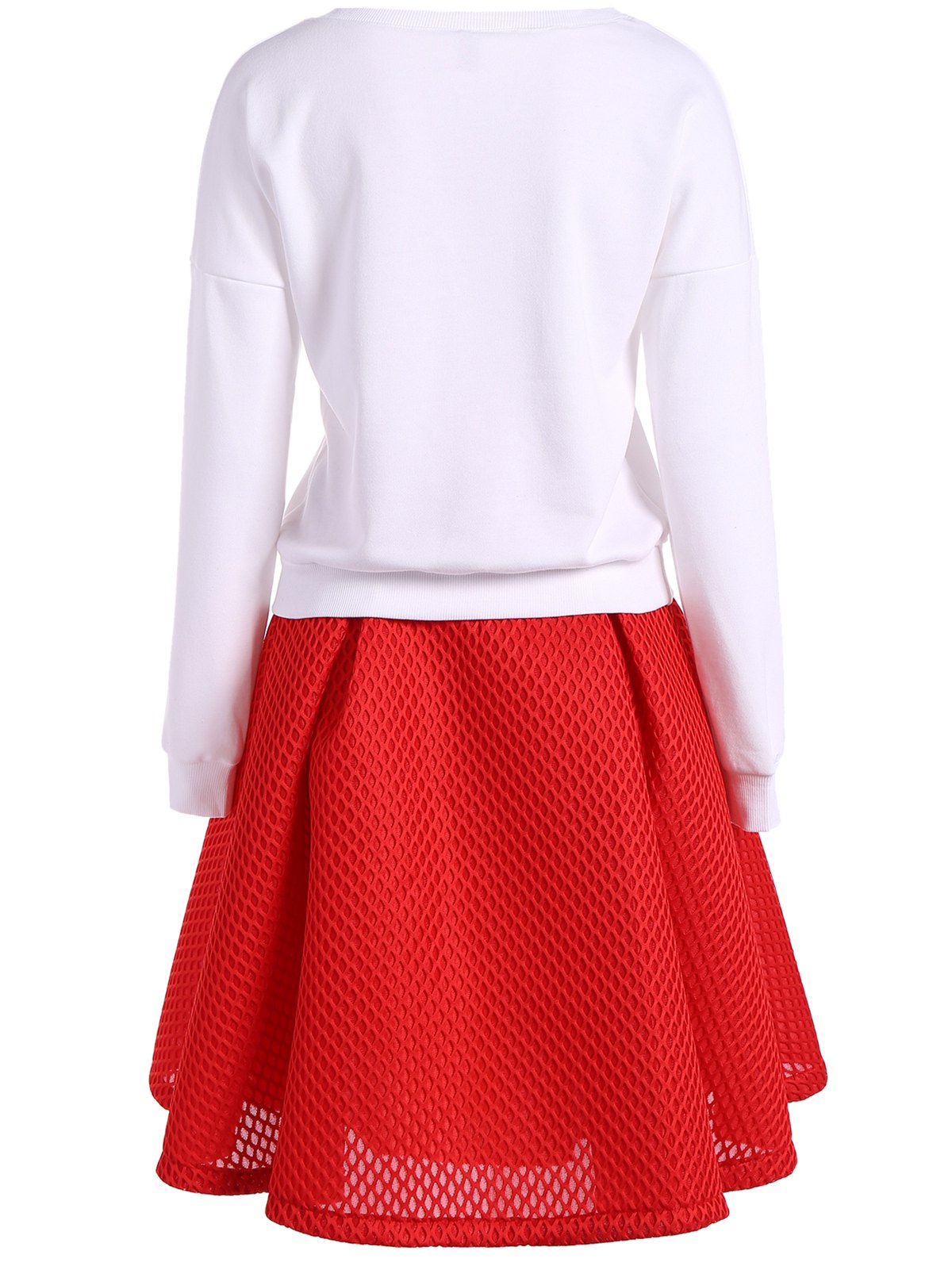 Stereo Floral Embellished Sweatshirt + High Waist Texture Skirt Twinset - WHITE M
