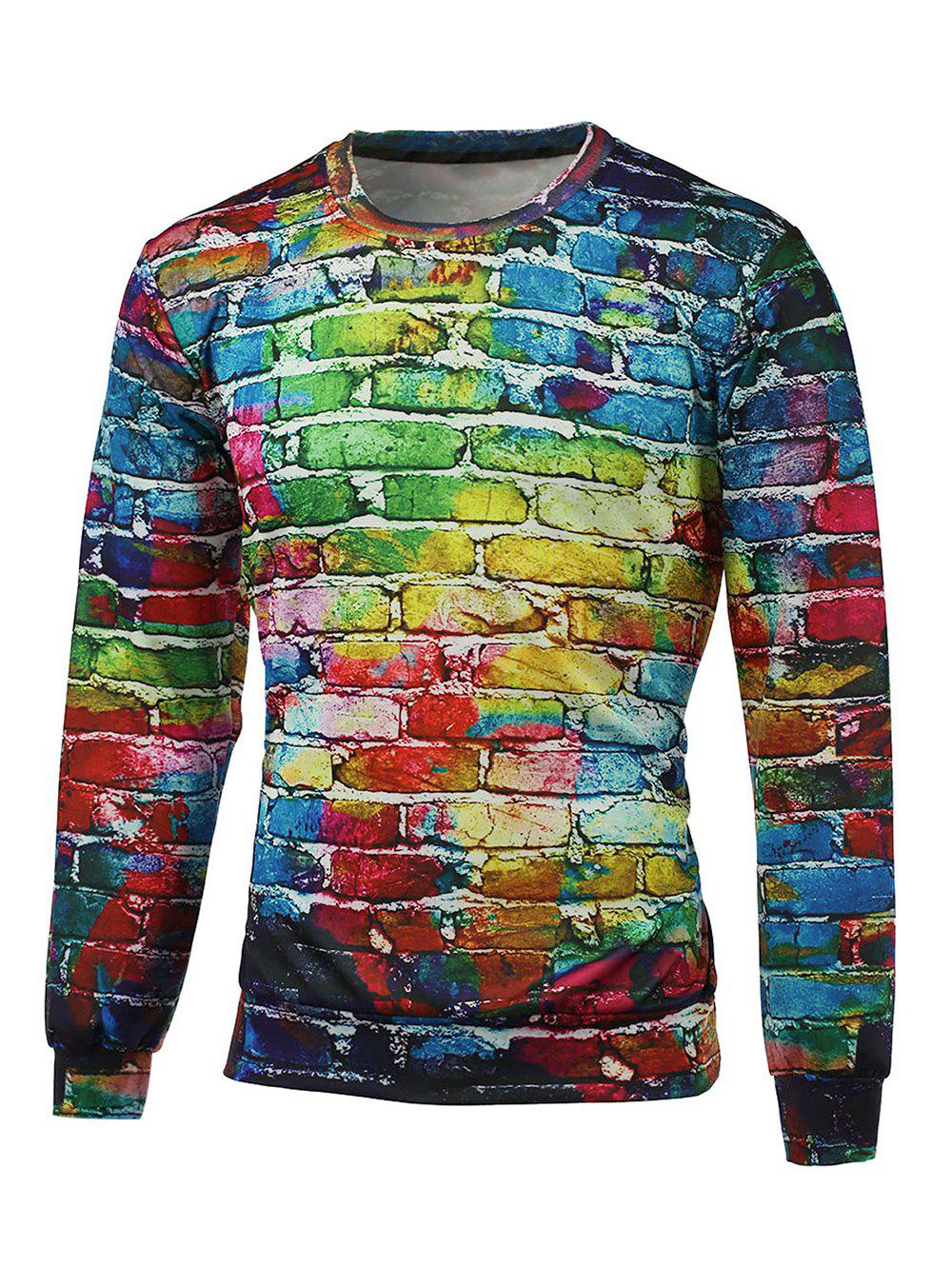 Crew Neck 3D Brick Wall Print Pullover Graphic Sweatshirts - COLORMIX S
