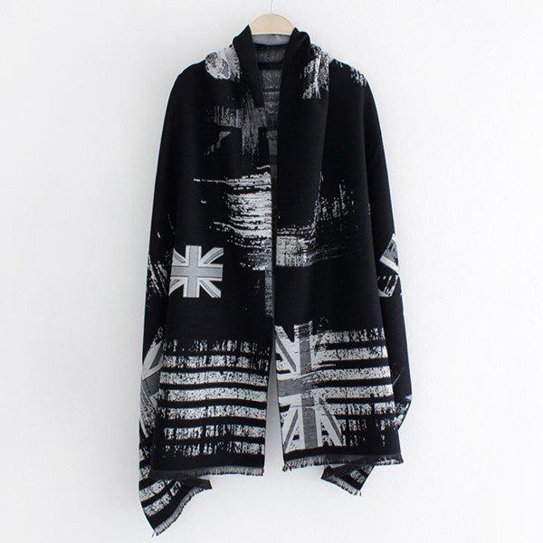 Winter Union Flag Stripe Print Fringed Edge Shawl Pashmina - LIGHT GRAY