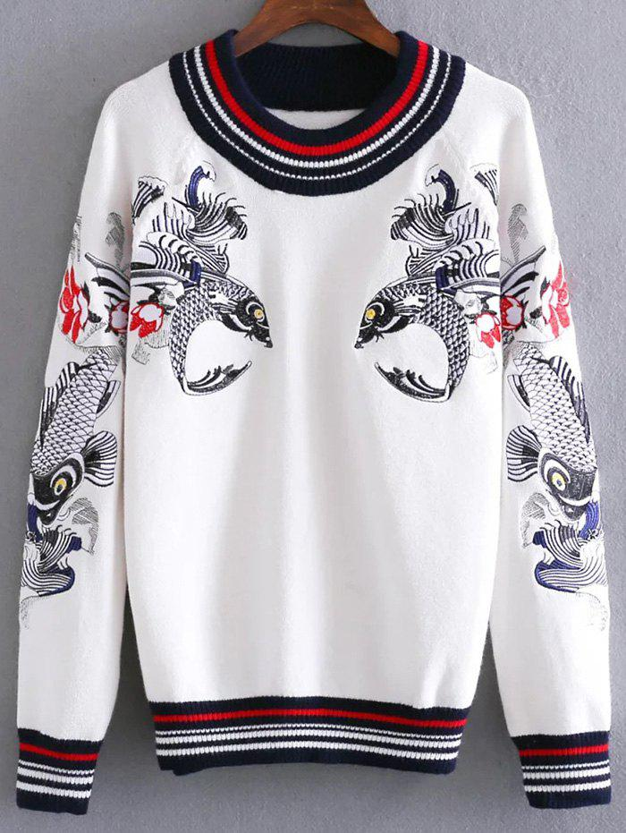Round Neck Fish Embroidered Sweater - WHITE ONE SIZE