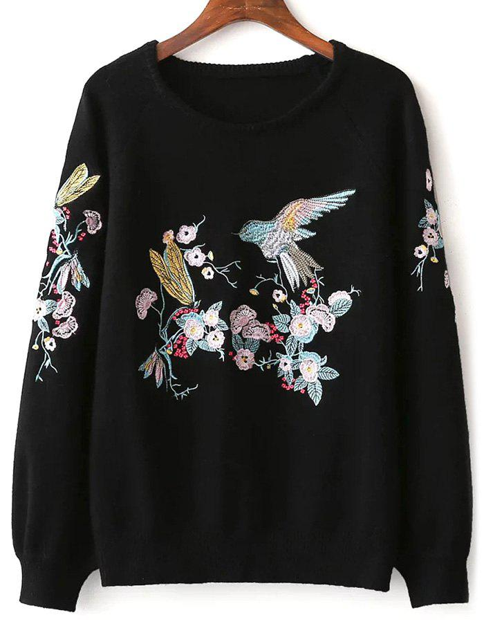 Round Neck Floral Embroidered Sweater mock neck floral embroidered sweater