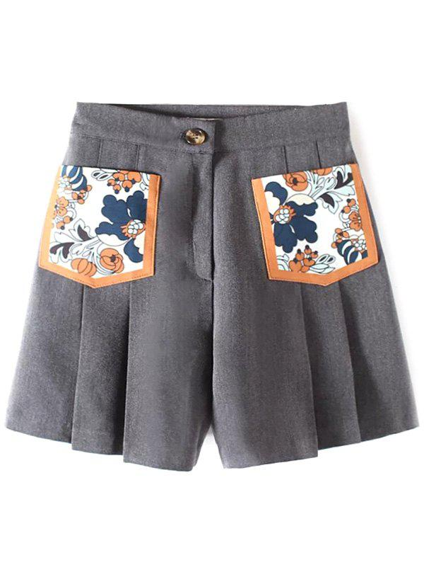 Casual Pocket Patch Pleated Shorts - GRAY M