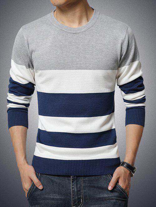 Round Neck Long Sleeve Color Block Stripe Print Sweater stylish round neck long sleeve color block knitted sweater for women