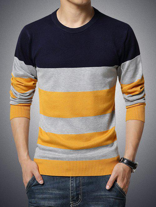 Round Neck Long Sleeve Color Block Stripe Print Sweater - CADETBLUE 5XL