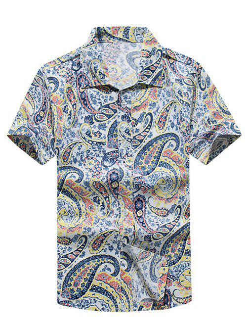 Turn-Down Collar Paisley Printed Hawaiian Shirt - YELLOW L