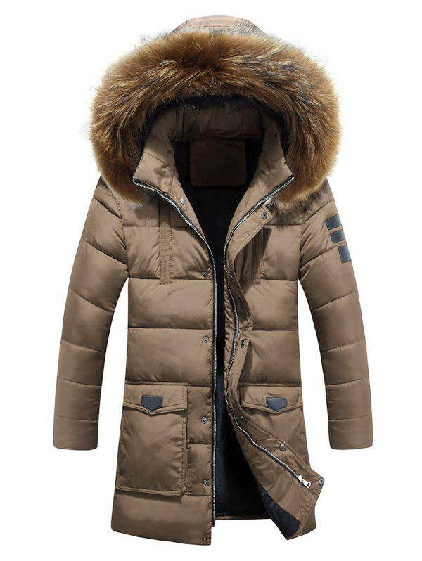 Lengthen Faux Fur Hooded Pockets Design Down Coat - KHAKI M