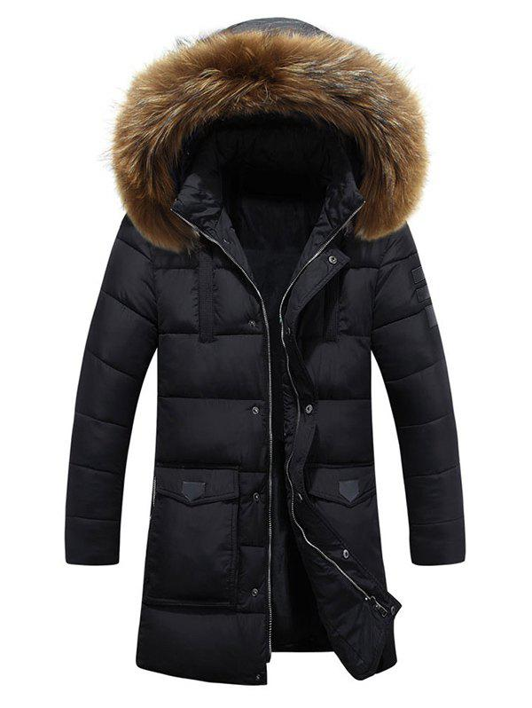 Lengthen Faux Fur Hooded Pockets Design Down Coat - BLACK 3XL