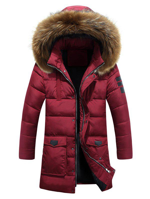Lengthen Faux Fur Hooded Pockets Design Down Coat - WINE RED M