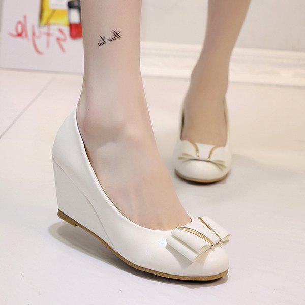 PU Leather Metal Bowknot Wedge Shoes - OFF WHITE 39