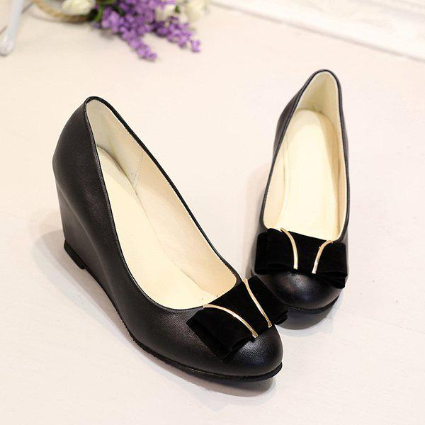 PU Leather Metal Bowknot Wedge Shoes - BLACK 40