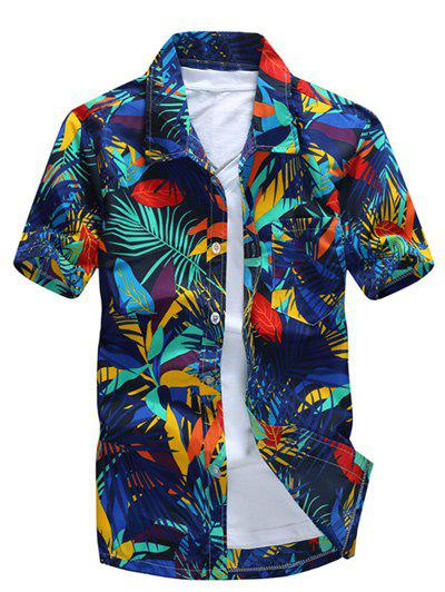 Short Sleeve Leaf Printed Hawaiian Shirt - BLUE 3XL