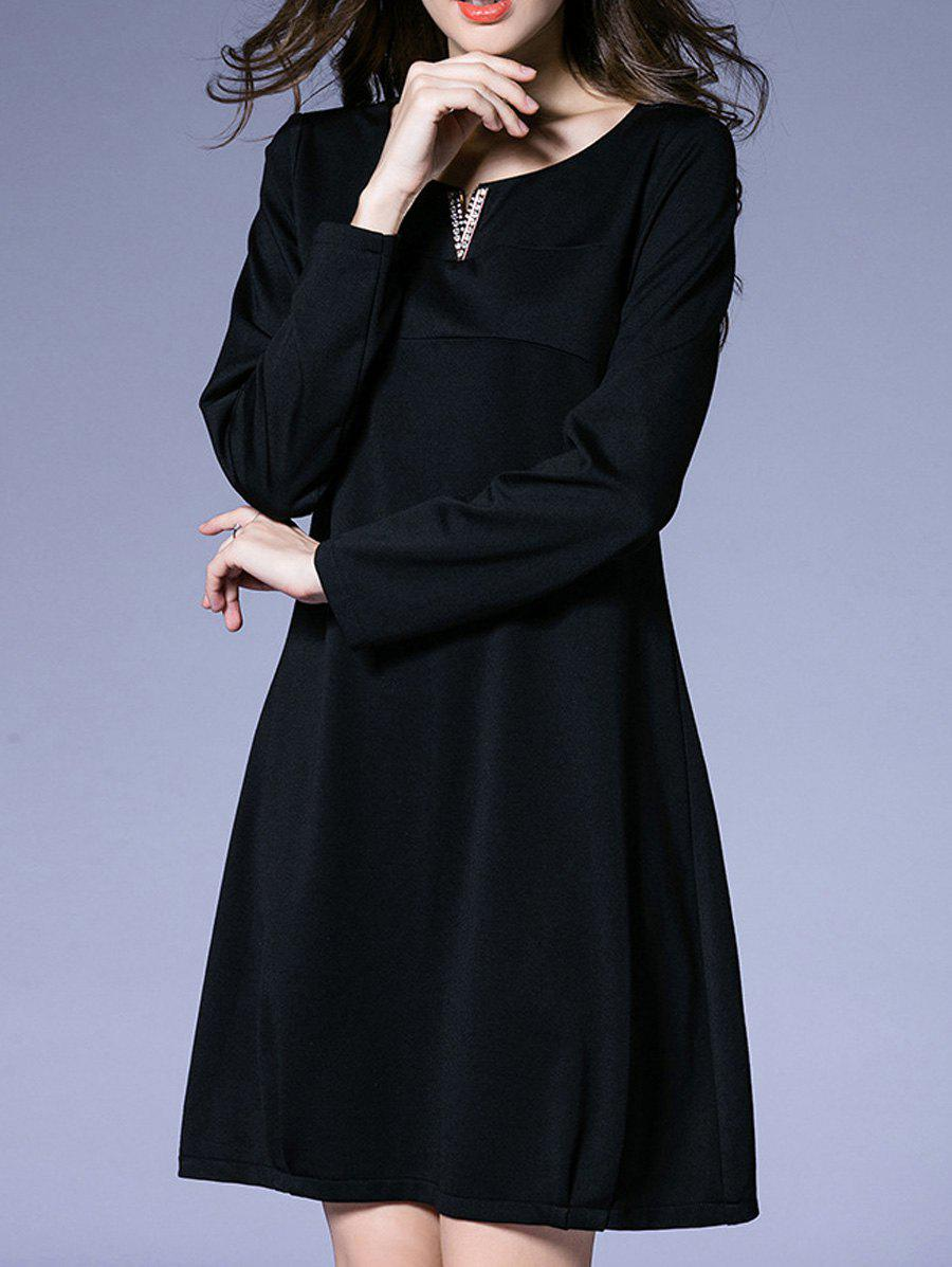 Rhinestone Embellished Loose-Fitting Dress - BLACK XL