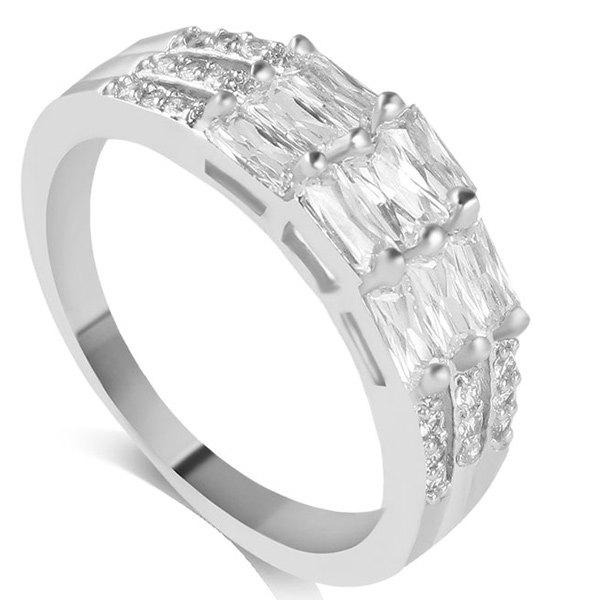 Faux Crystal Layered Rectangle Ring vintage faux crystal rectangle carving ring for men