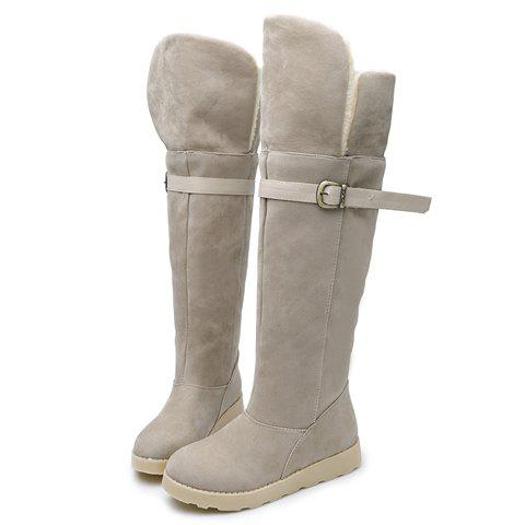 Flat Heel Suede Buckle Strap Snow Boots - OFF WHITE 38