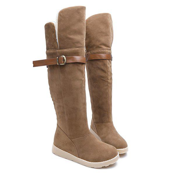 Flat Heel Suede Buckle Strap Snow Boots - BROWN 38