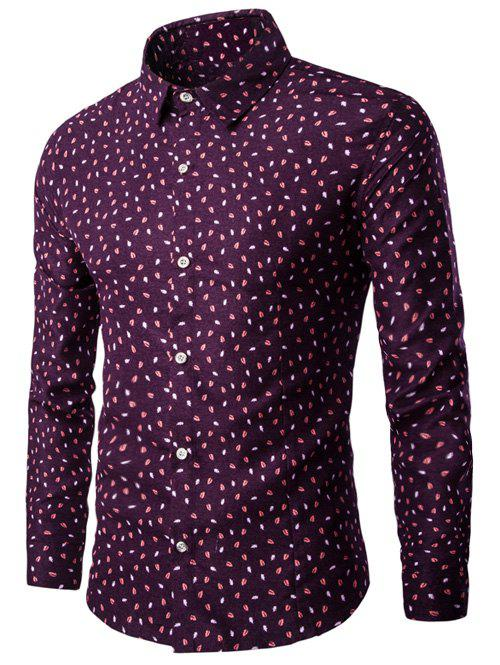 Long Sleeve Turn-down Collar Leaf Print Shirt - WINE RED M
