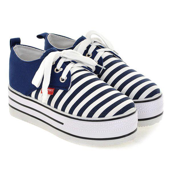 Canvas Tie Up Striped Pattern Platform Shoes - DEEP BLUE 39