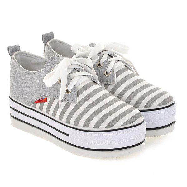 Canvas Tie Up Striped Pattern Platform Shoes - LIGHT GRAY 39