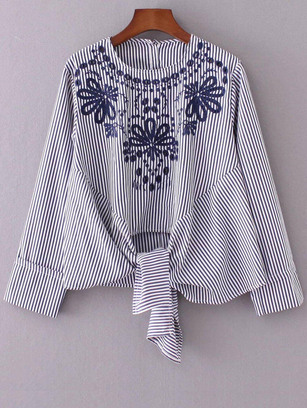 Round Neck Embroidered Striped Blouse - STRIPE S
