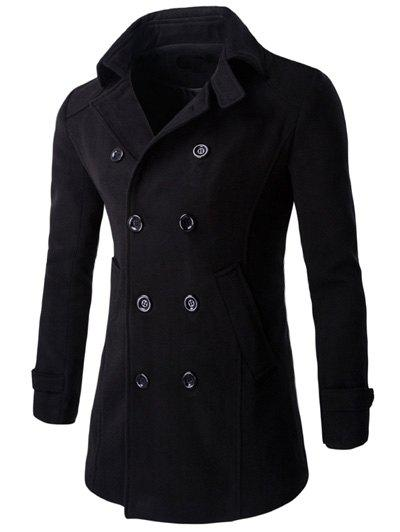 Button Cuff Half Back Belt Long Sleeve Peacoat what s the point in discussion