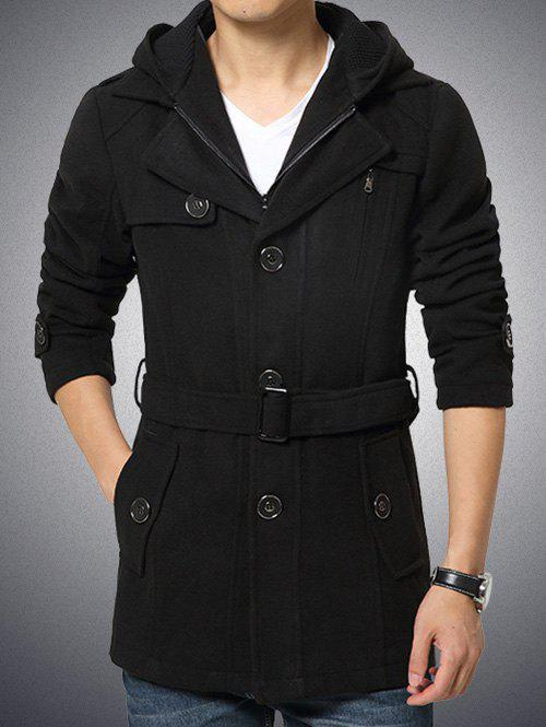 Zippered Button Embellished Hooded Belted Coat button tab cuffs hooded belted coat