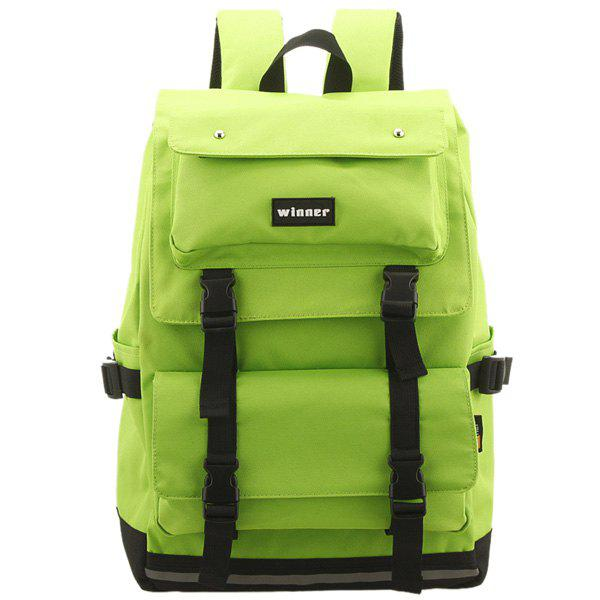 Buckle Straps Travel Backpack - NEON GREEN