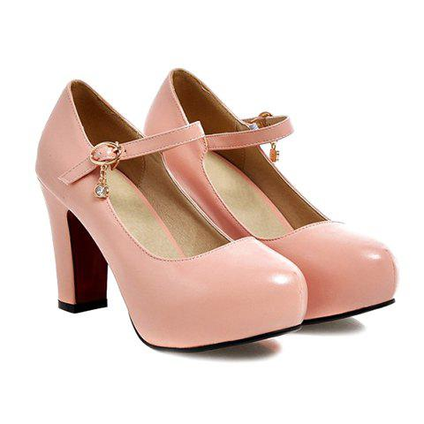 Chunky Heel PU Leather Rhinestone Pumps - PINK 38