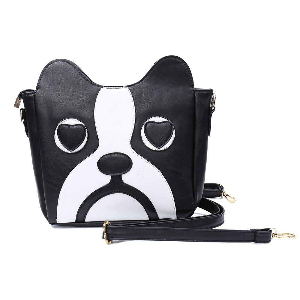Sweet Kitten Pattern and Color Block Design Crossbody Bag For Women