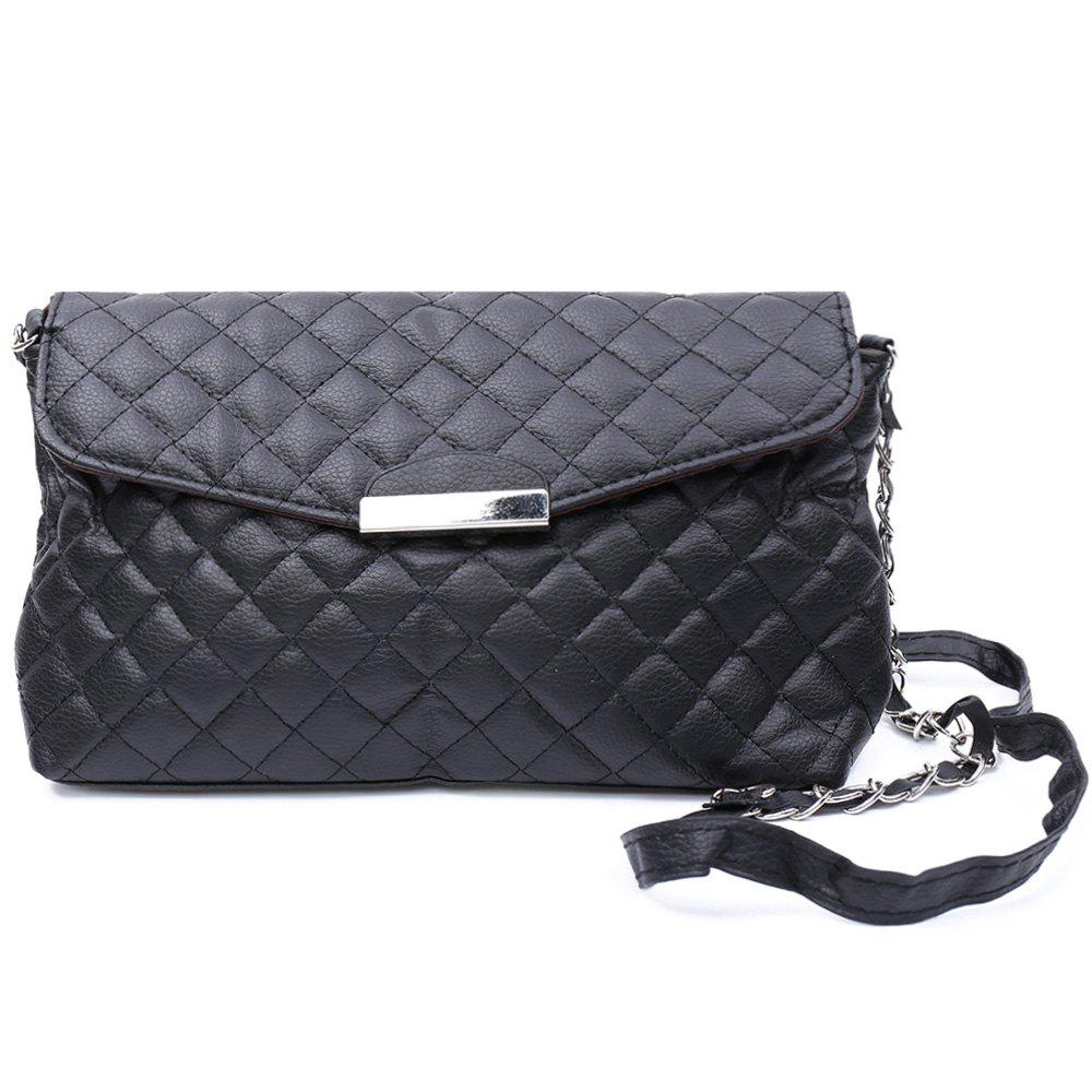 Graceful Checked and Metal Design Crossbody Bag For Women - BLACK