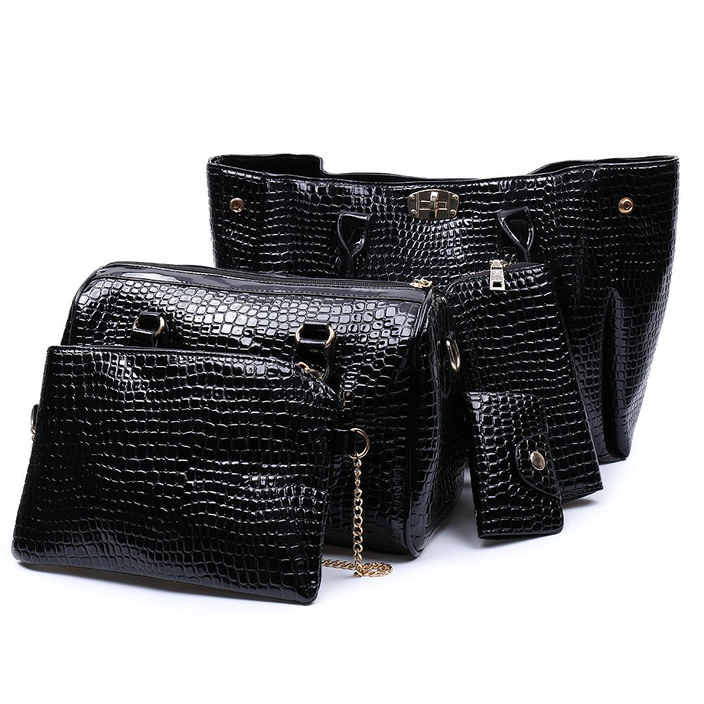 Elegant Stone Pattern and Hasp Design Tote Bag For Women - BLACK