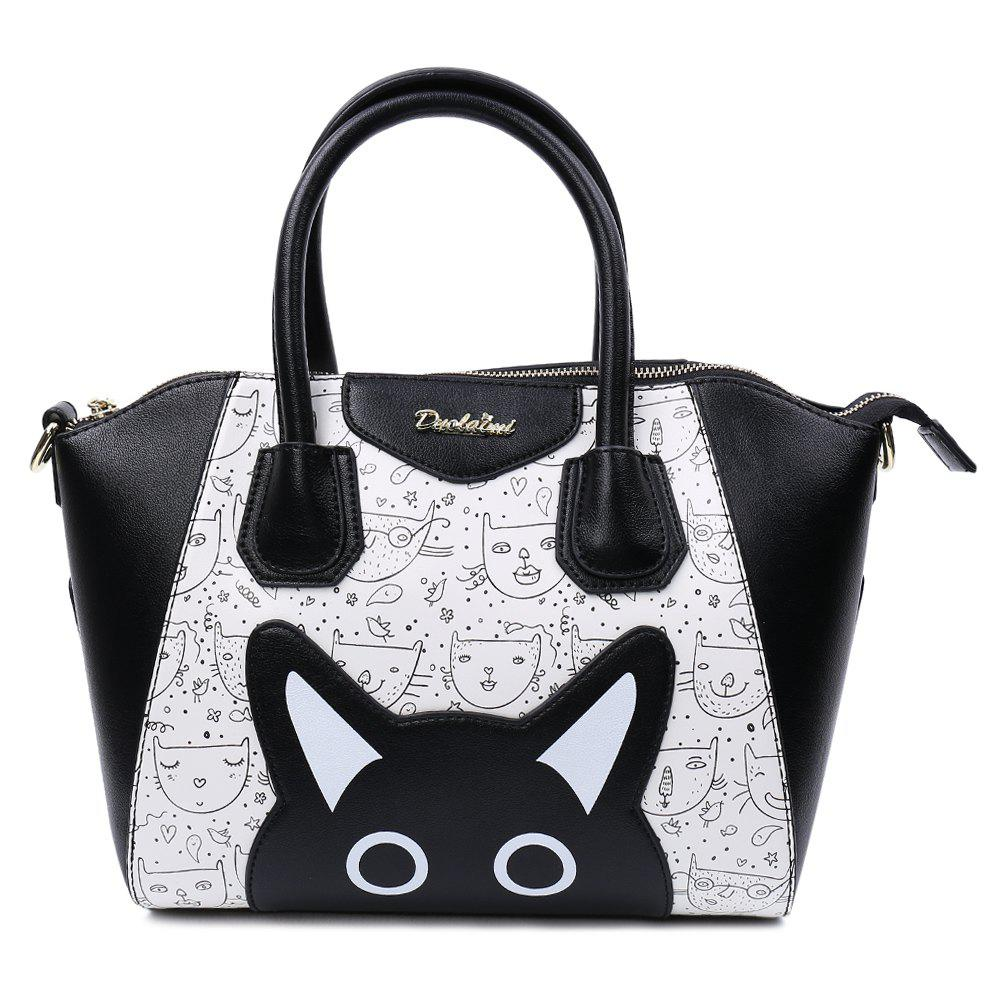 Casual Color Block and Printed Design Tote Bag For Women