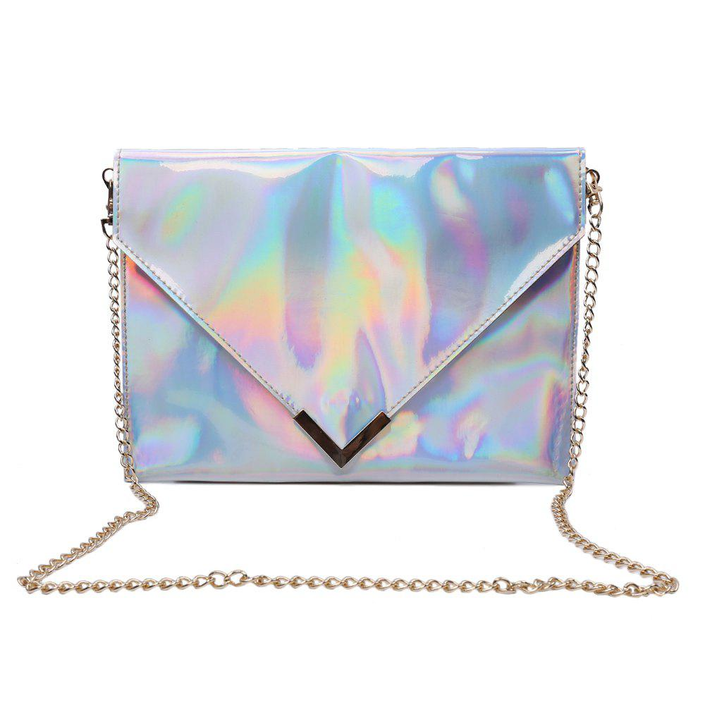 Trendy Solid Color and Chain Design Shoulder Bag For Women - SILVER