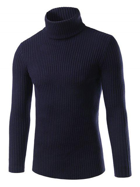 Turtle Neck Vertical Stripe Long Sleeve Slimming Sweater - CADETBLUE XL