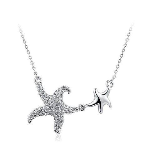 Double Starfish Rhinestone Pendant Necklace - WHITE GOLDEN