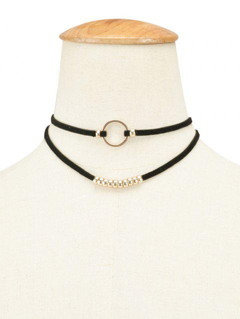 Layered Faux cuir velours ronde perlée Choker - Or