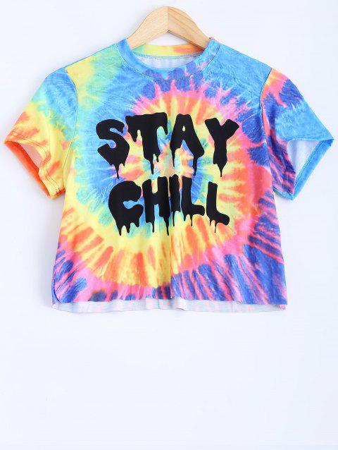 Round Neck Short Sleeve Printed Crop Top - COLORMIX M