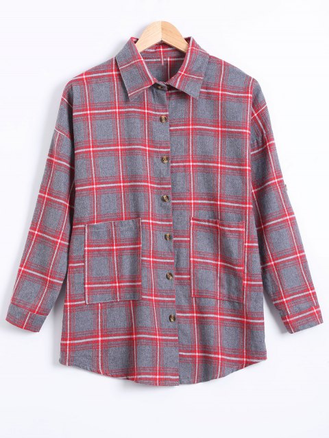 Plus Size Letter Pockets Plaid Shirt - RED 4XL