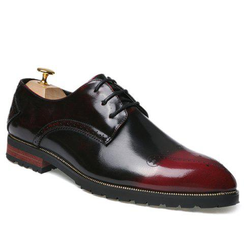 Bout pointu Tie Up Gravure Chaussures formelles - Vin rouge 43