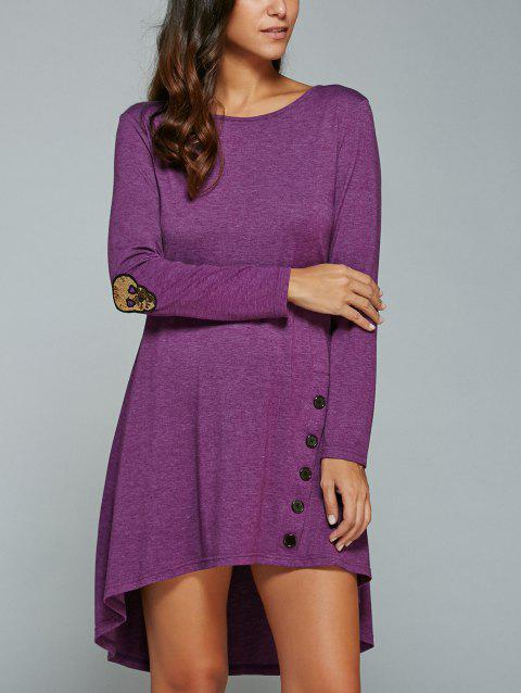 High-Low manches longues robe - Pourpre S